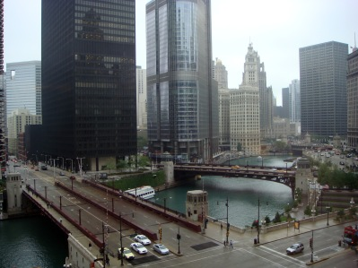 View of Chicago River, Trump Tower, Chicago Tribune Building