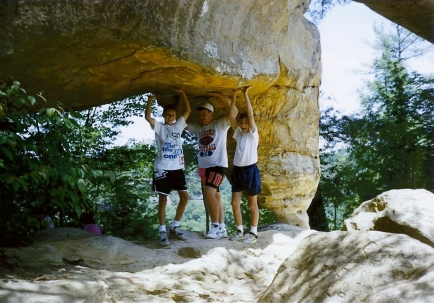 Natural Bridge - Skybridge June 1992 (Josh Rupley, Danny Dwyer, Greg under Skybridge)