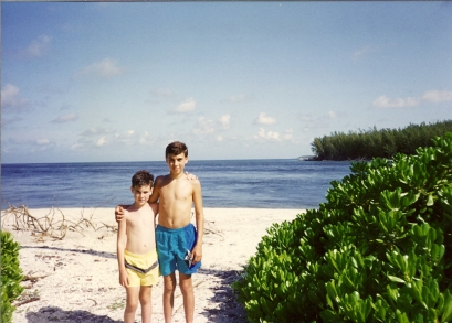 Ryan & Greg on Beach at South Seas Plantation, Captiva 7-92 (2)