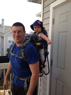 All ready to go hiking with Daddy 4-13-14