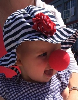 At the Astoria Regatta Parade - a clown gave Josie a clown nose 8-9-14 - Copy