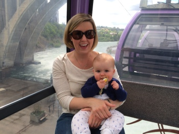 Megan and Josie on Gondola Ride over Spokane Falls 5-19-14