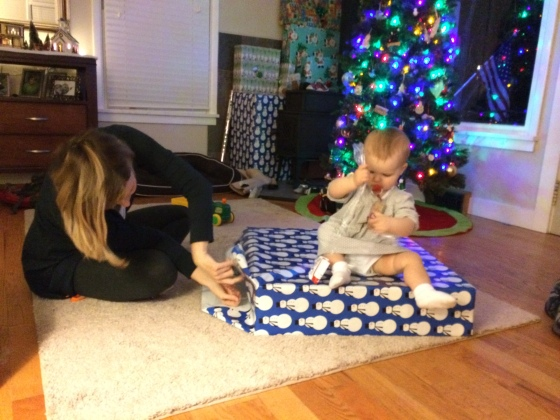 Helping Mommy wrap presents 12-6-14
