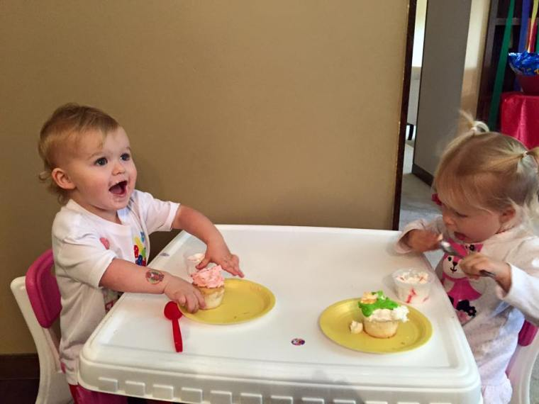 Josie and Brynn with their cupcakes and ice cream