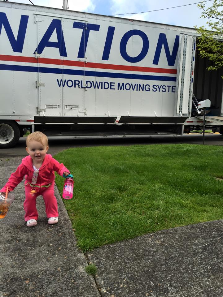 Josie is so excited to see the big moving truck 4-29-15