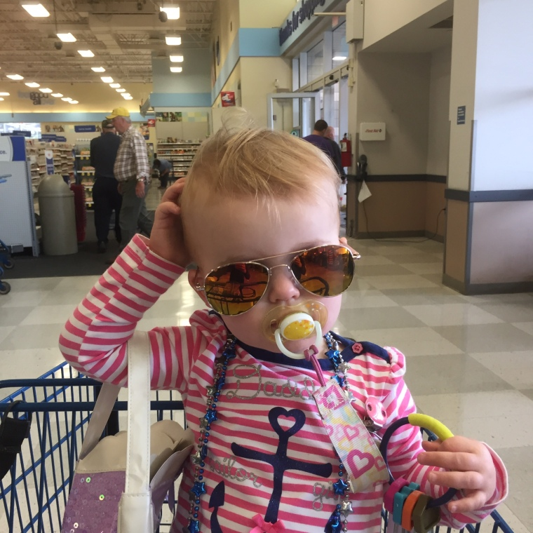 Our shopper and her new sunglasses 6-4-15