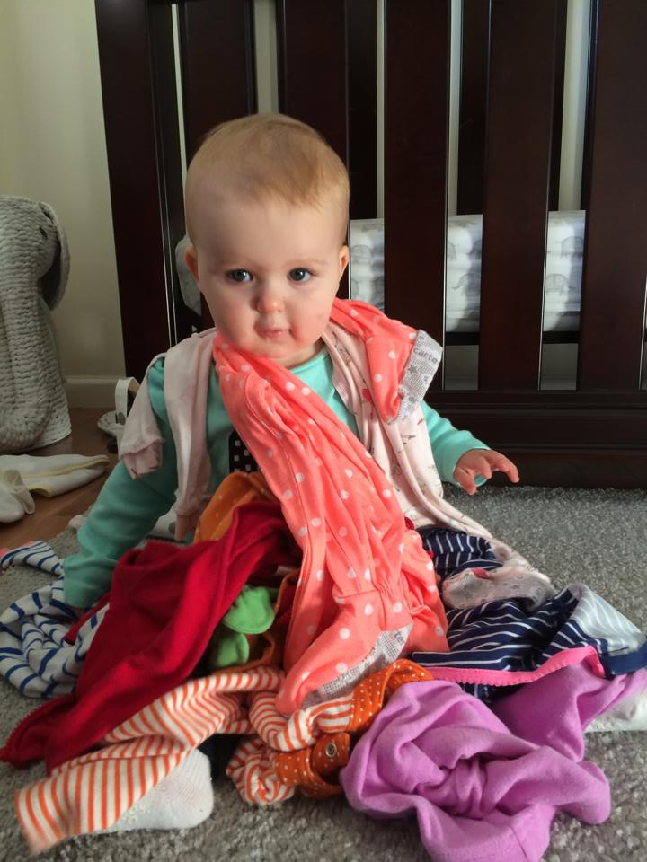 This is how Josie helps fold her clean clothes 11-11-14