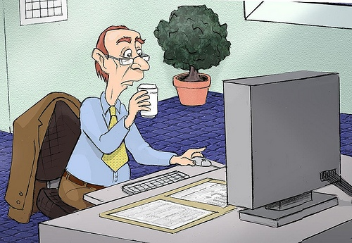 Cartoon pic of man at computer